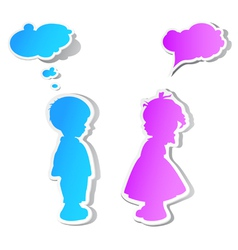 Children with speech bubbles vector image vector image