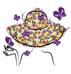 spring woman with hat vector image