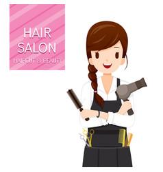 Woman hairdresser with hair salon equipment vector
