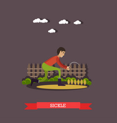 farm worker with sickle in vector image vector image