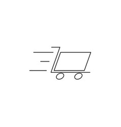 fast cart line icon vector image vector image