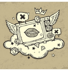grunge tv design vector image