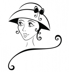 lovely girl in a hat vector image vector image