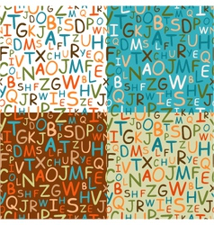 set of seamless patterns of hand drawn letters vector image vector image