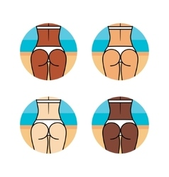 Healthy woman buttocks on the beach Different vector image vector image