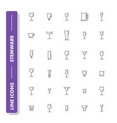 line icons set stemware pack 2 vector image