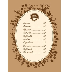 menu list for hot drinks vector image vector image