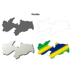Paraiba blank outline map set vector image