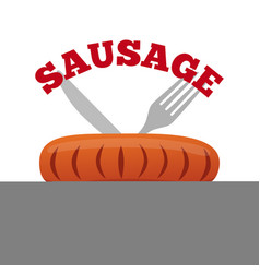 sausage logo label for menu shops flat style vector image vector image