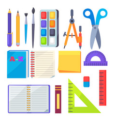 set of stationery objects compass divider pen vector image