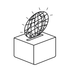 Silhouette flat globe earth world depositing in a vector