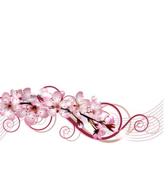 blossoming sakura cherry branch with pink flowers vector image vector image