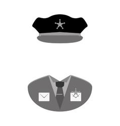 grayscale police uniform icon image vector image vector image
