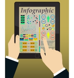 Infographics on the Tablet Hands vector image