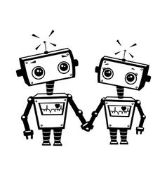 Robots in love vector image vector image