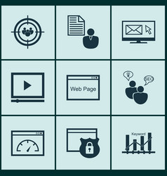 set of 9 marketing icons includes loading speed vector image