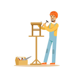 Smiling carpenter building a wooden chair vector