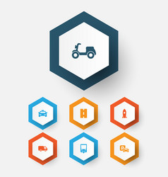 transport icons set collection of cab skooter vector image