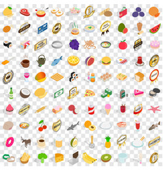 100 cake icons set isometric 3d style vector image