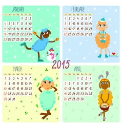2015 calendar with cartoon and funny sheep winter vector image