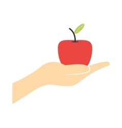 A hand giving a red apple flat icon vector image