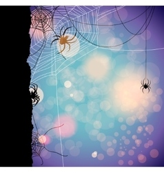 Autumn background with spiders vector