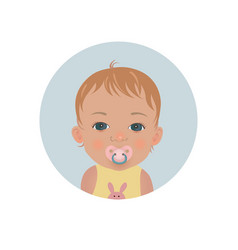 baby with pacifier emoticon child with soother vector image