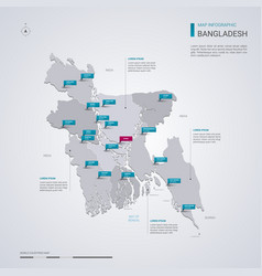Bangladesh map with infographic elements pointer vector