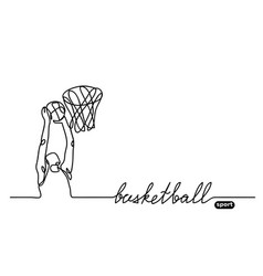 basketball player banner minimalist doodle vector image
