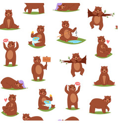 bear seamless pattern cartoon cute animal repeat vector image
