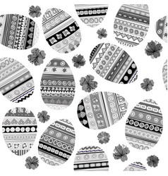 black and white seamless with easter eggs vector image