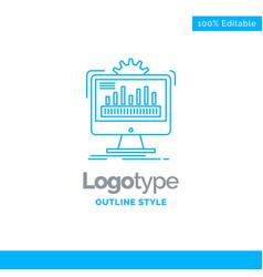 Blue logo design for dashboard admin monitor vector