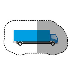 blue trucks trailer icon vector image