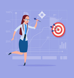 Business woman hold arrow hit target successful vector