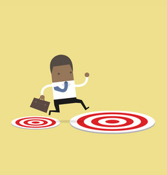 businessman jumping from small to big target vector image