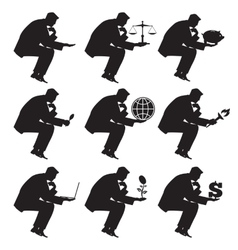 Businessman sitting thinking set of silhouettes vector image