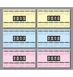 calendar grid 2015 2016 2020 for business card vector image