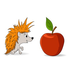 cartoon little hedgehog and red apple vector image