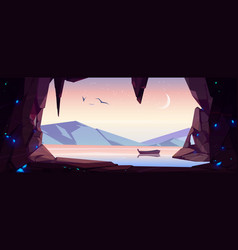 Cave seaview landscape with lonely wooden boat vector