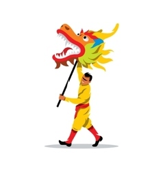 Chinese dragon and man dancing in vector