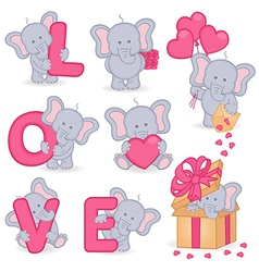 Collection of cute valentine elephant vector