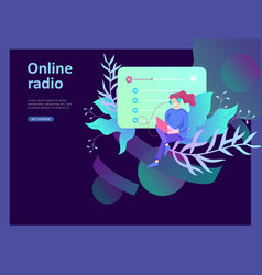 concept of internet online radio streaming vector image