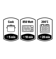 cook minutes icon 5 10 and 20 minutes cooking in vector image