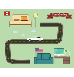 Couch surfing concept Travel infographic Share vector