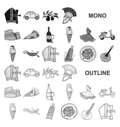 Country italy monochrom icons in set collection vector