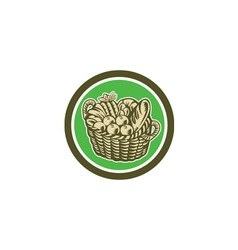 Crop Harvest Basket Circle Retro vector