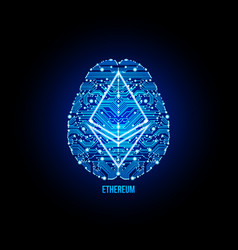 Crypto currency ethereum on brain background vector