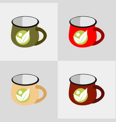 cup organic label set vector image