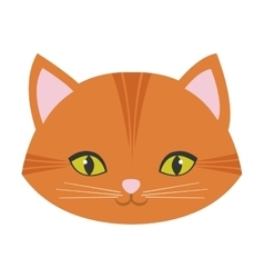Cute cat face pink nose mustache vector