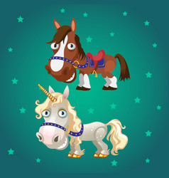 Cute poster with smiling racehorse and a unicorn vector